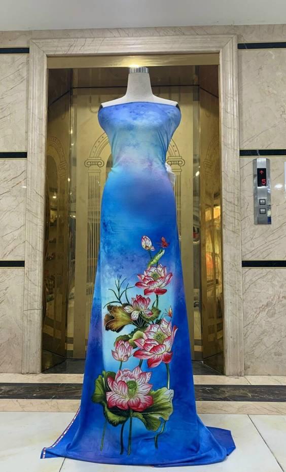 Vải Áo Dài Nhung In Hoa Sen Đinh Đá AD NhungHoaSen 3