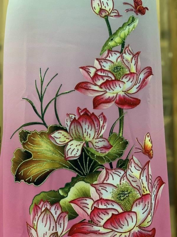 Vải Áo Dài Nhung In Hoa Sen Đinh Đá AD NhungHoaSen 18