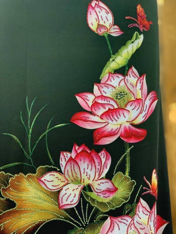 Vải Áo Dài Nhung In Hoa Sen Đinh Đá AD NhungHoaSen 17