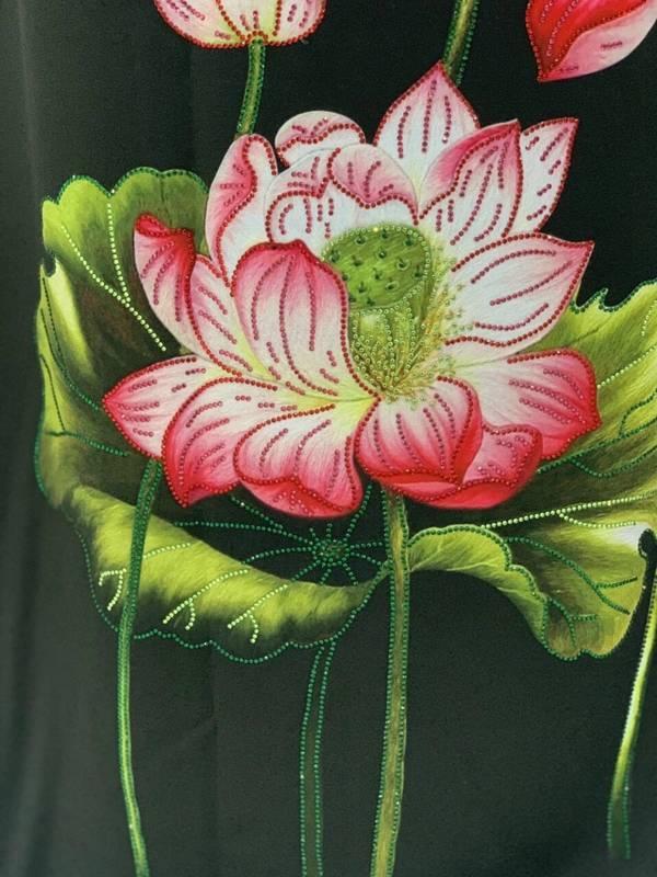 Vải Áo Dài Nhung In Hoa Sen Đinh Đá AD NhungHoaSen 16