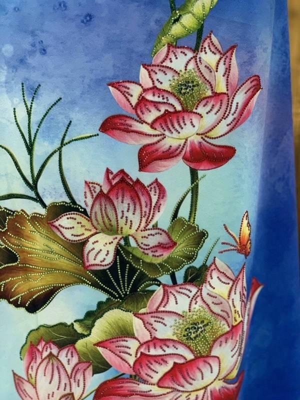 Vải Áo Dài Nhung In Hoa Sen Đinh Đá AD NhungHoaSen 15