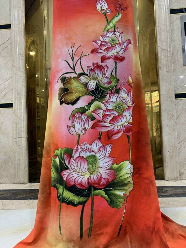 Vải Áo Dài Nhung In Hoa Sen Đinh Đá AD NhungHoaSen 14