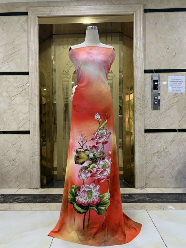 Vải Áo Dài Nhung In Hoa Sen Đinh Đá AD NhungHoaSen 1