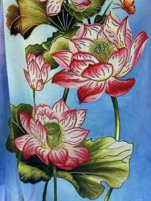 Vải Áo Dài Nhung In Hoa Sen Đinh Đá AD NhungHoaSen 36