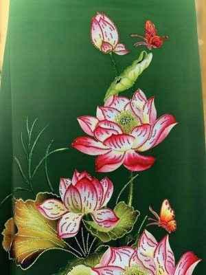 Vải Áo Dài Nhung In Hoa Sen Đinh Đá AD NhungHoaSen 47