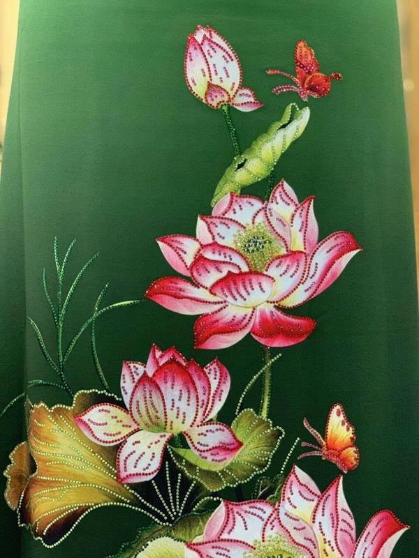 Vải Áo Dài Nhung In Hoa Sen Đinh Đá AD NhungHoaSen 24