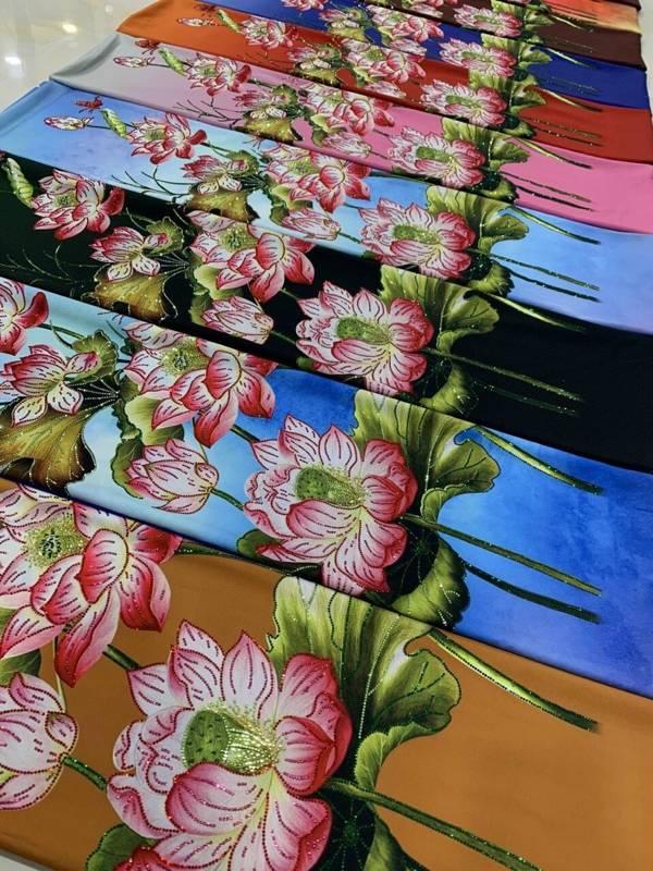 Vải Áo Dài Nhung In Hoa Sen Đinh Đá AD NhungHoaSen 12