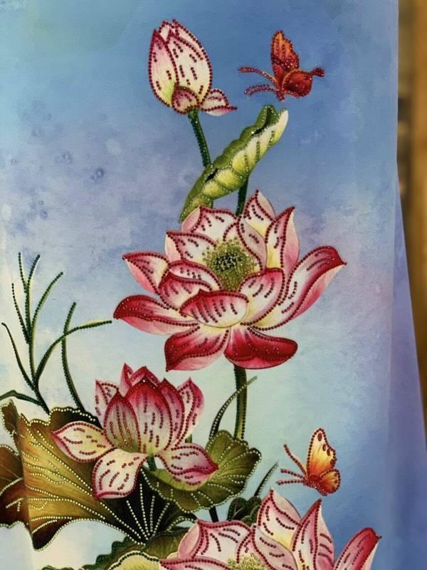 Vải Áo Dài Nhung In Hoa Sen Đinh Đá AD NhungHoaSen 11