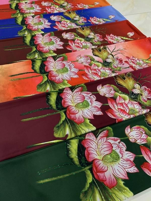 Vải Áo Dài Nhung In Hoa Sen Đinh Đá AD NhungHoaSen 7