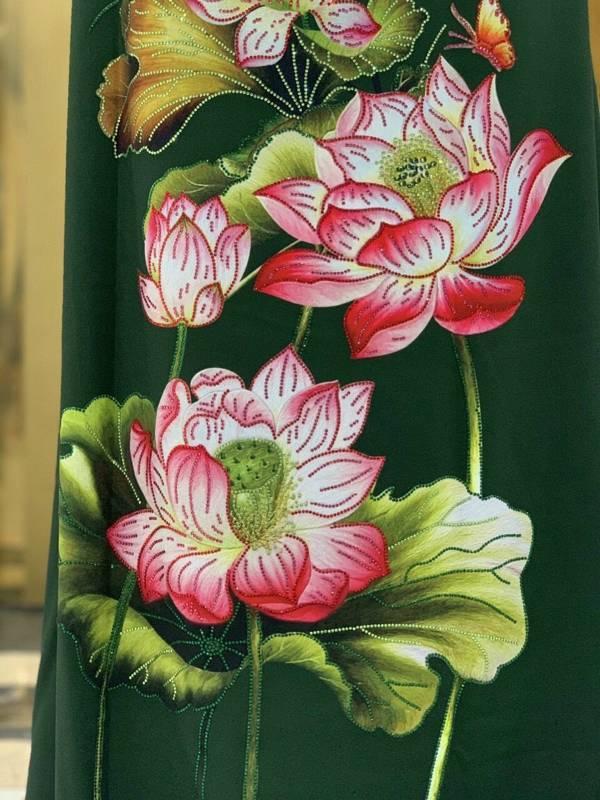 Vải Áo Dài Nhung In Hoa Sen Đinh Đá AD NhungHoaSen 23