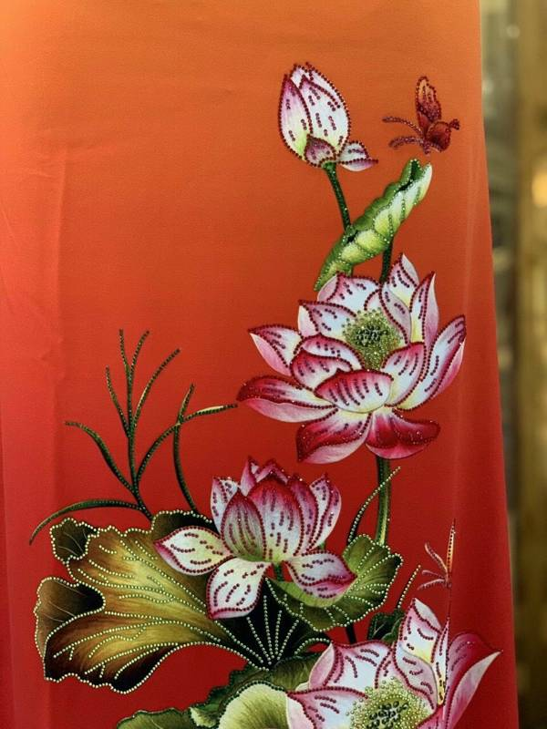 Vải Áo Dài Nhung In Hoa Sen Đinh Đá AD NhungHoaSen 22