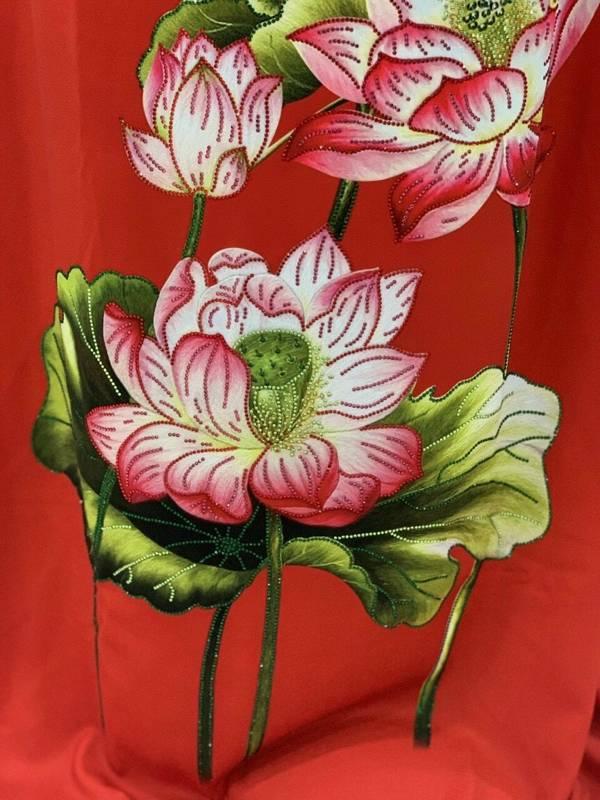 Vải Áo Dài Nhung In Hoa Sen Đinh Đá AD NhungHoaSen 21