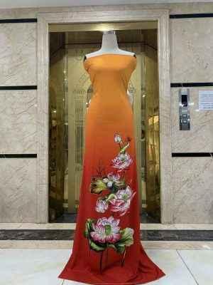 Vải Áo Dài Nhung In Hoa Sen Đinh Đá AD NhungHoaSen 31