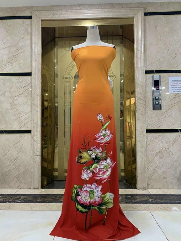 Vải Áo Dài Nhung In Hoa Sen Đinh Đá AD NhungHoaSen 8