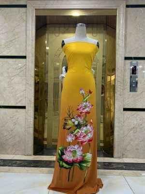 Vải Áo Dài Nhung In Hoa Sen Đinh Đá AD NhungHoaSen 32