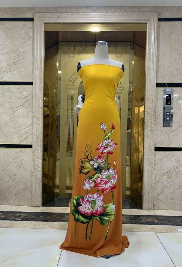 Vải Áo Dài Nhung In Hoa Sen Đinh Đá AD NhungHoaSen 9