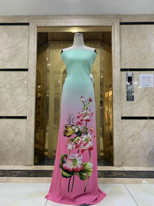 Vải Áo Dài Nhung In Hoa Sen Đinh Đá AD NhungHoaSen 10