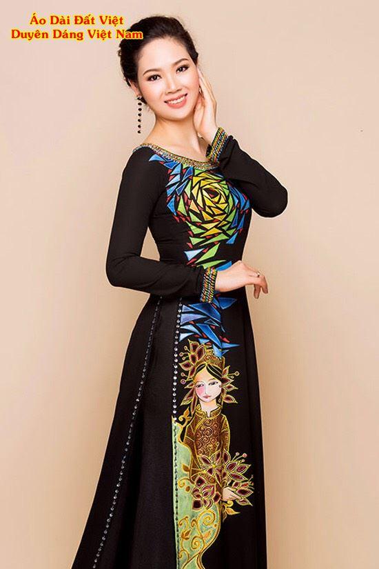 Áo Dài Trung Niên Vẽ Hoa Hồng Và Cô Gái AD VE190503 1