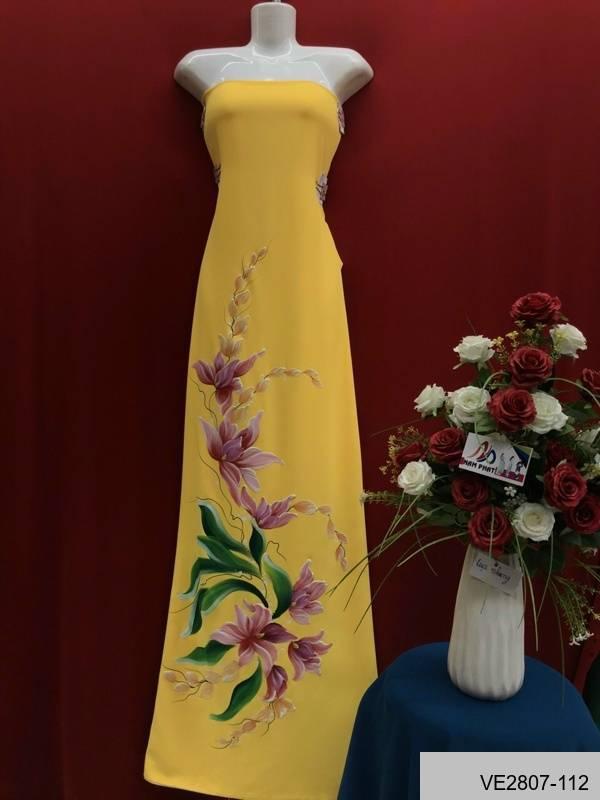Vải Áo Dài Thái Tuấn Vẽ Hoa Ly AD VE2807_112 3