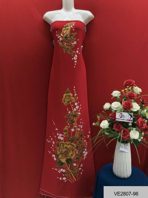 Vải Áo Dài Thái Tuấn Vẽ Hoa AD VE2807_96 1